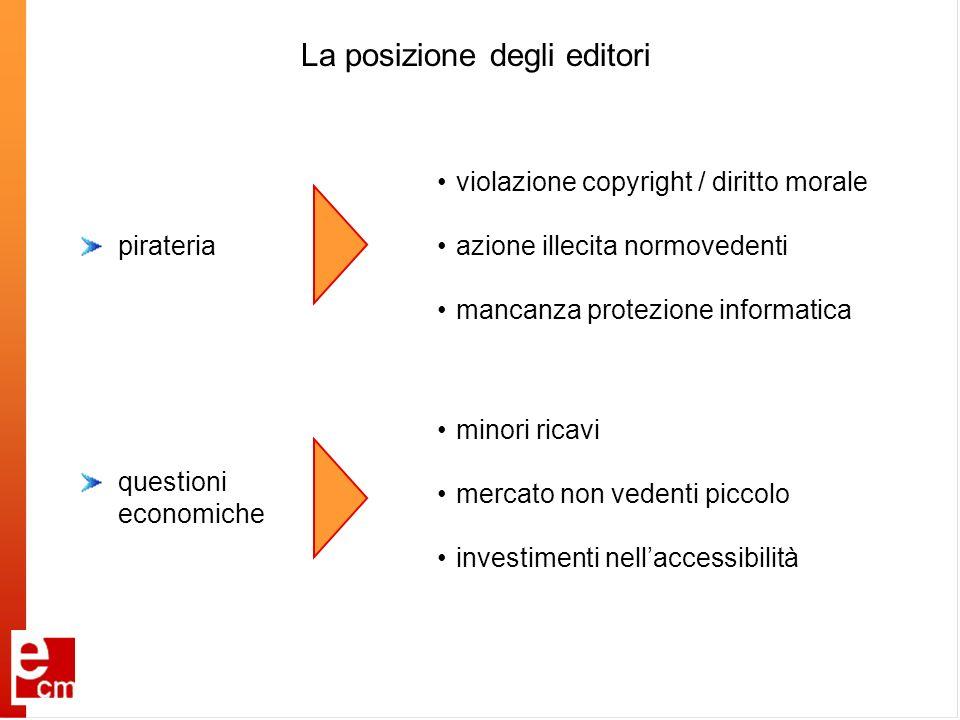 La posizione degli editori pirateria violazione copyright / diritto morale azione illecita normovedenti mancanza protezione informatica minori ricavi