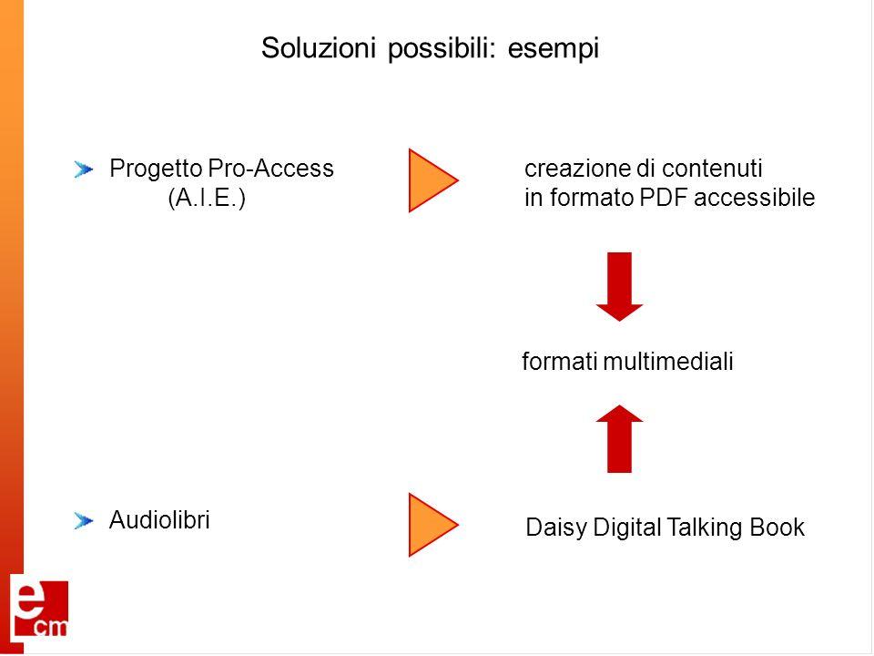 Soluzioni possibili: esempi Audiolibri creazione di contenuti in formato PDF accessibile formati multimediali Progetto Pro-Access (A.I.E.) Daisy Digit