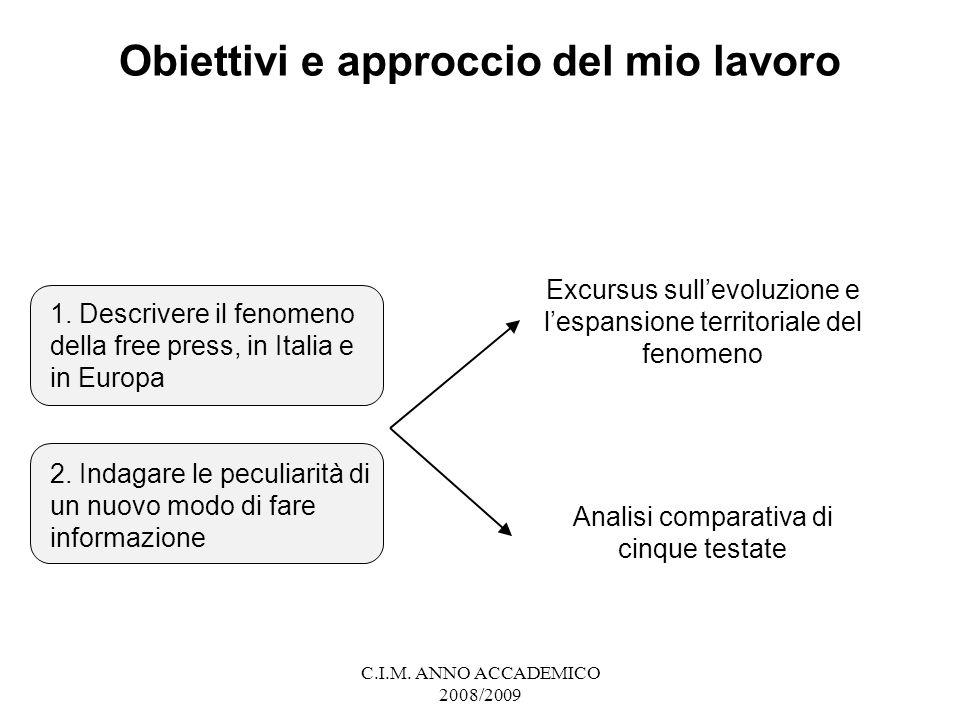 C.I.M.ANNO ACCADEMICO 2008/2009 Obiettivi e approccio del mio lavoro 1.
