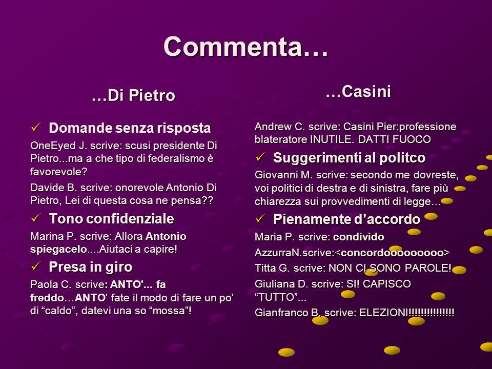 Commenta… …Di Pietro Domande senza risposta Domande senza risposta OneEyed J.