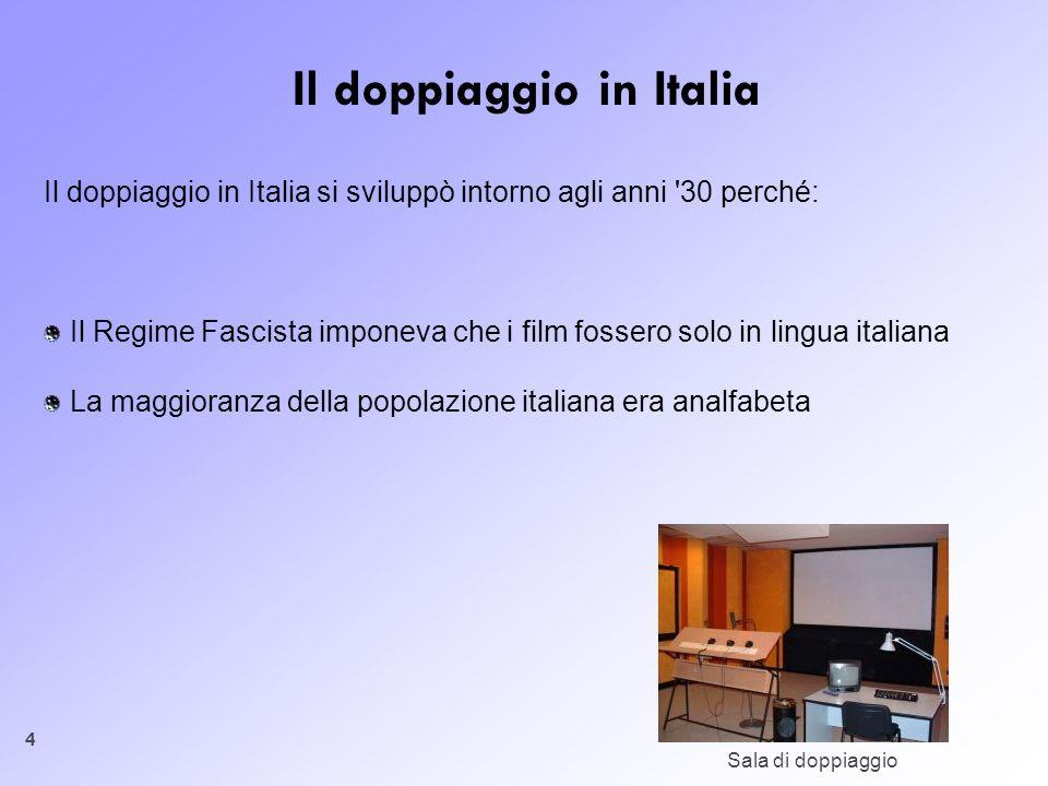 4 Il doppiaggio in Italia Il doppiaggio in Italia si sviluppò intorno agli anni '30 perché: Il Regime Fascista imponeva che i film fossero solo in lin