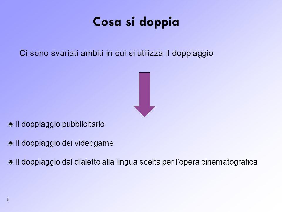 5 Cosa si doppia Ci sono svariati ambiti in cui si utilizza il doppiaggio Il doppiaggio pubblicitario Il doppiaggio dei videogame Il doppiaggio dal di