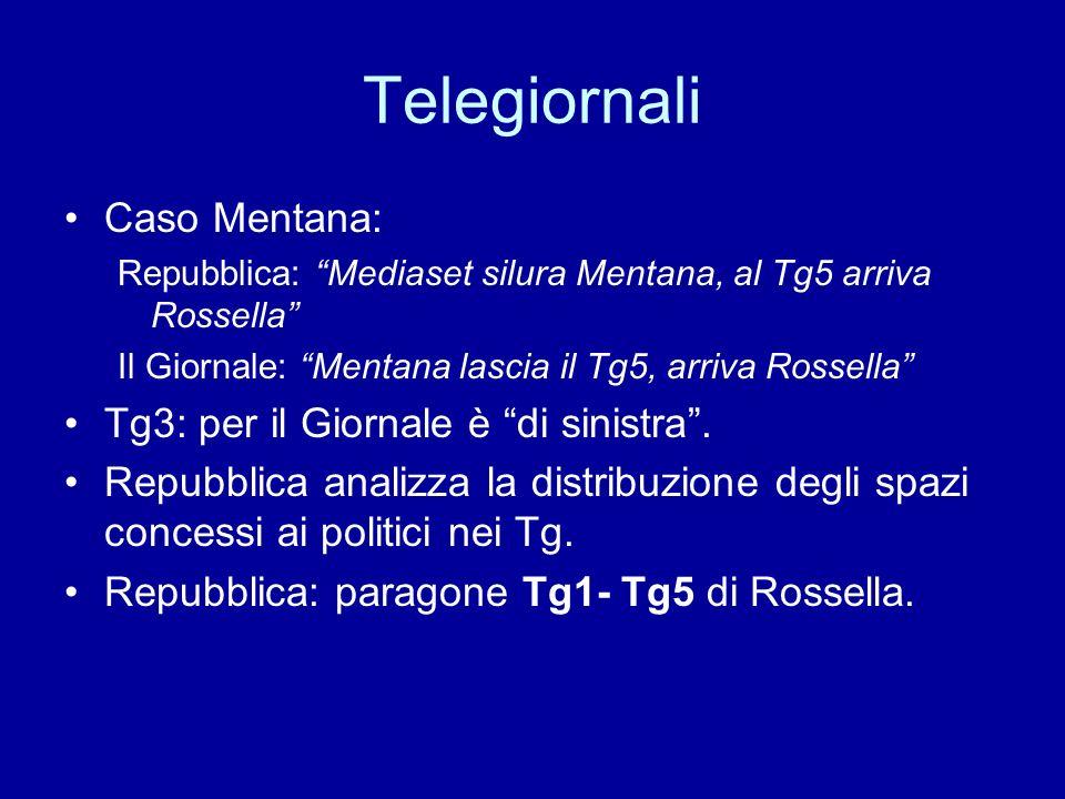 Telegiornali Caso Mentana: Repubblica: Mediaset silura Mentana, al Tg5 arriva Rossella Il Giornale: Mentana lascia il Tg5, arriva Rossella Tg3: per il Giornale è di sinistra.
