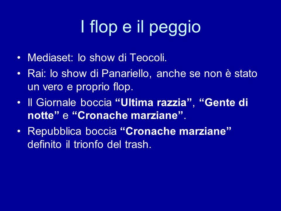 I flop e il peggio Mediaset: lo show di Teocoli. Rai: lo show di Panariello, anche se non è stato un vero e proprio flop. Il Giornale boccia Ultima ra
