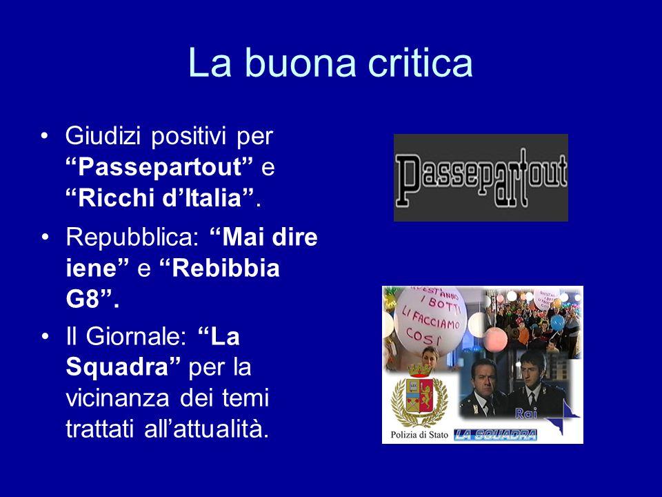 La buona critica Giudizi positivi per Passepartout e Ricchi dItalia. Repubblica: Mai dire iene e Rebibbia G8. Il Giornale: La Squadra per la vicinanza