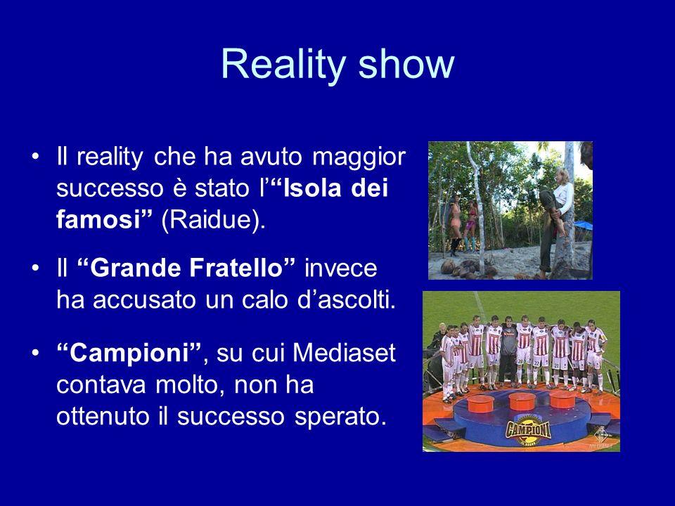 Reality show Il reality che ha avuto maggior successo è stato lIsola dei famosi (Raidue). Il Grande Fratello invece ha accusato un calo dascolti. Camp