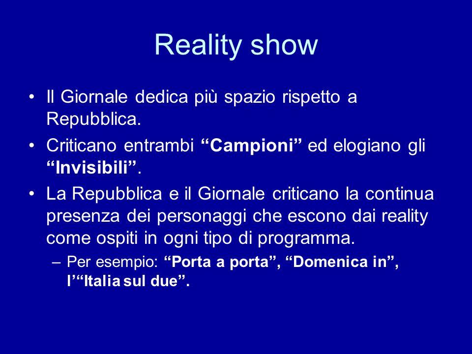 Reality show Il Giornale dedica più spazio rispetto a Repubblica. Criticano entrambi Campioni ed elogiano gli Invisibili. La Repubblica e il Giornale