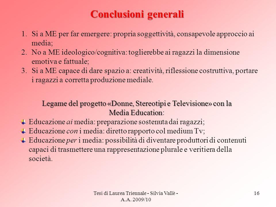Tesi di Laurea Triennale - Silvia Vallè - A.A. 2009/10 16 Conclusioni generali 1.Si a ME per far emergere: propria soggettività, consapevole approccio