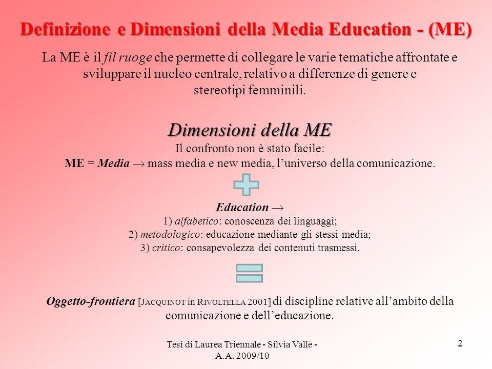 2 Tesi di Laurea Triennale - Silvia Vallè - A.A. 2009/10 Definizione e Dimensioni della Media Education - (ME) La ME è il fil ruoge che permette di co