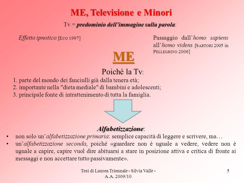 Tesi di Laurea Triennale - Silvia Vallè - A.A. 2009/10 5 ME, Televisione e Minori predominio dellimmagine sulla parola Tv = predominio dellimmagine su