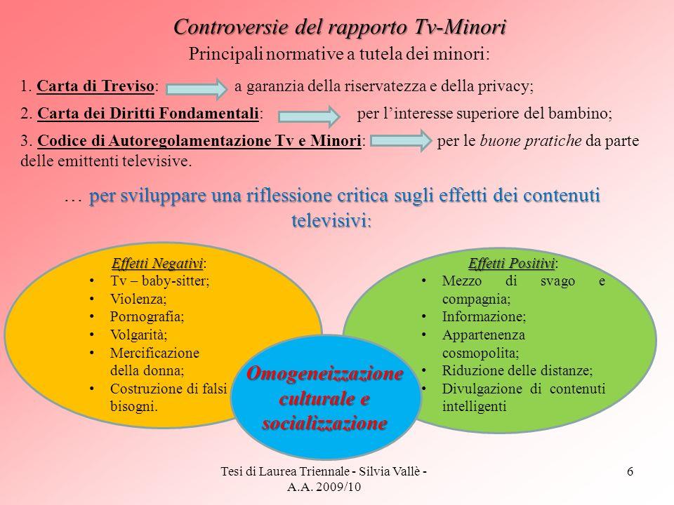 Tesi di Laurea Triennale - Silvia Vallè - A.A. 2009/10 6 Controversie del rapporto Tv-Minori 1. Carta di Treviso: a garanzia della riservatezza e dell