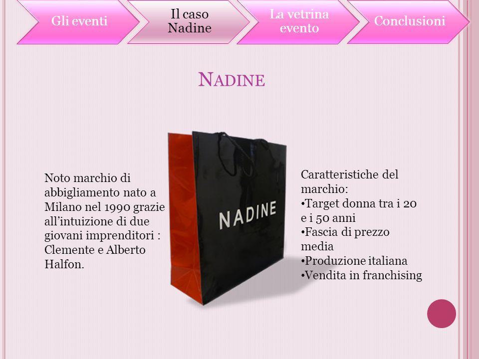N ADINE Noto marchio di abbigliamento nato a Milano nel 1990 grazie allintuizione di due giovani imprenditori : Clemente e Alberto Halfon. Caratterist