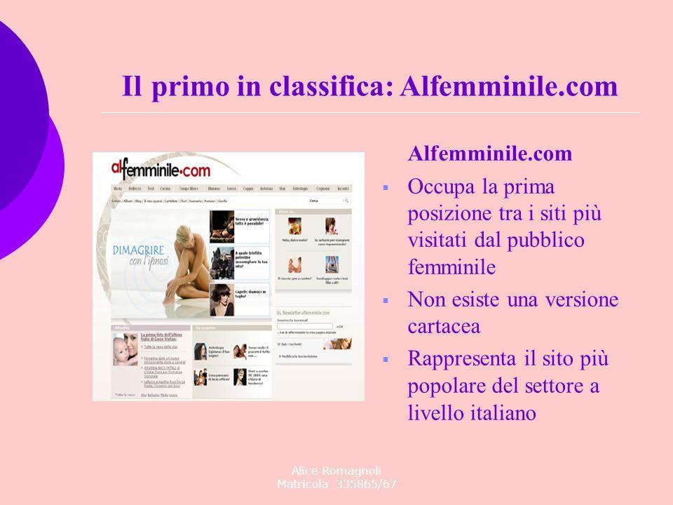 Alice Romagnoli Matricola 335865/67 Alfemminile.com Occupa la prima posizione tra i siti più visitati dal pubblico femminile Non esiste una versione c