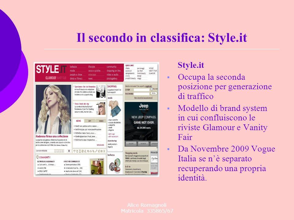 Alice Romagnoli Matricola 335865/67 Style.it Occupa la seconda posizione per generazione di traffico Modello di brand system in cui confluiscono le ri