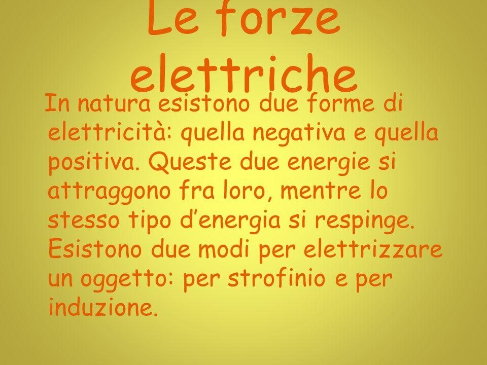 Le forze elettriche In natura esistono due forme di elettricità: quella negativa e quella positiva.