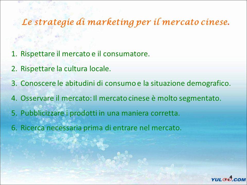 4 Le strategie di marketing per il mercato cinese. 1.Rispettare il mercato e il consumatore. 2.Rispettare la cultura locale. 3.Conoscere le abitudini