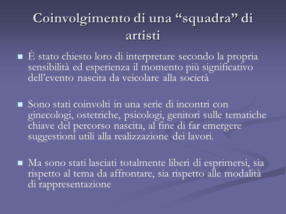 Coinvolgimento di una squadra di artisti È stato chiesto loro di interpretare secondo la propria sensibilità ed esperienza il momento più significativ