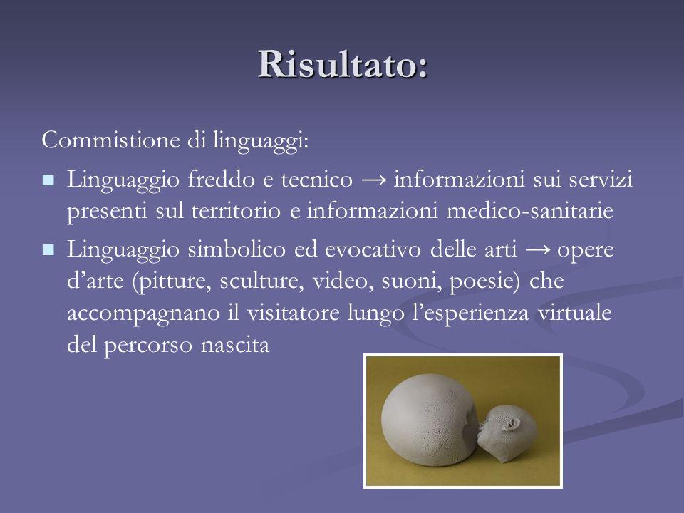 Risultato: Commistione di linguaggi: Linguaggio freddo e tecnico informazioni sui servizi presenti sul territorio e informazioni medico-sanitarie Ling