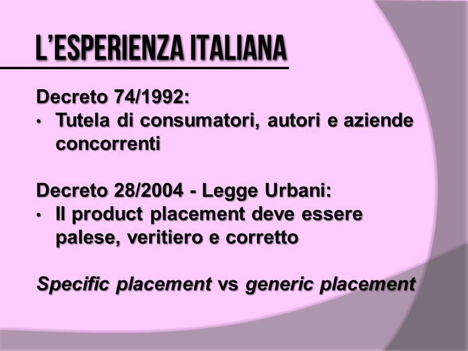 Decreto 74/1992: Tutela di consumatori, autori e aziende concorrenti Tutela di consumatori, autori e aziende concorrenti Decreto 28/2004 - Legge Urban