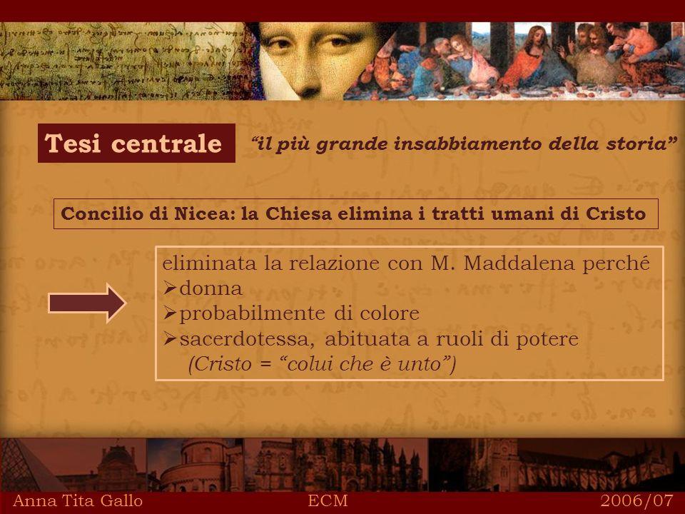 Anna Tita Gallo ECM 2006/07 Tesi centrale il più grande insabbiamento della storia Concilio di Nicea: la Chiesa elimina i tratti umani di Cristo eliminata la relazione con M.