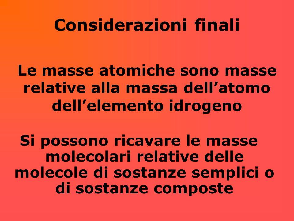 I risultati dellesperienza Calcolato il valore della m.m.r.