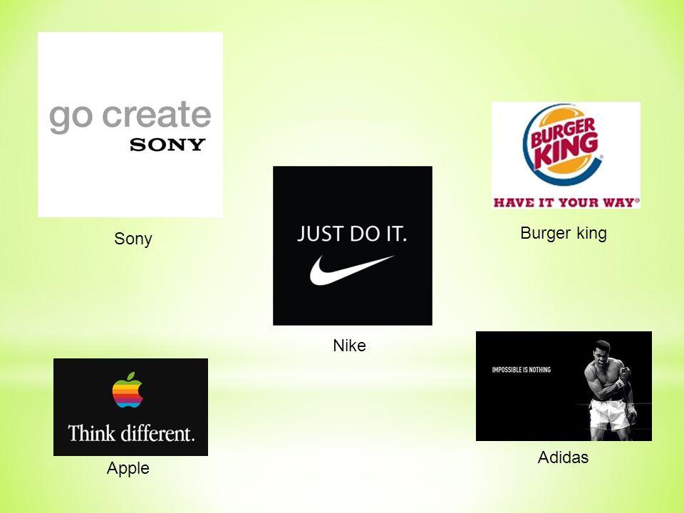 Sony Nike Burger king Adidas Apple
