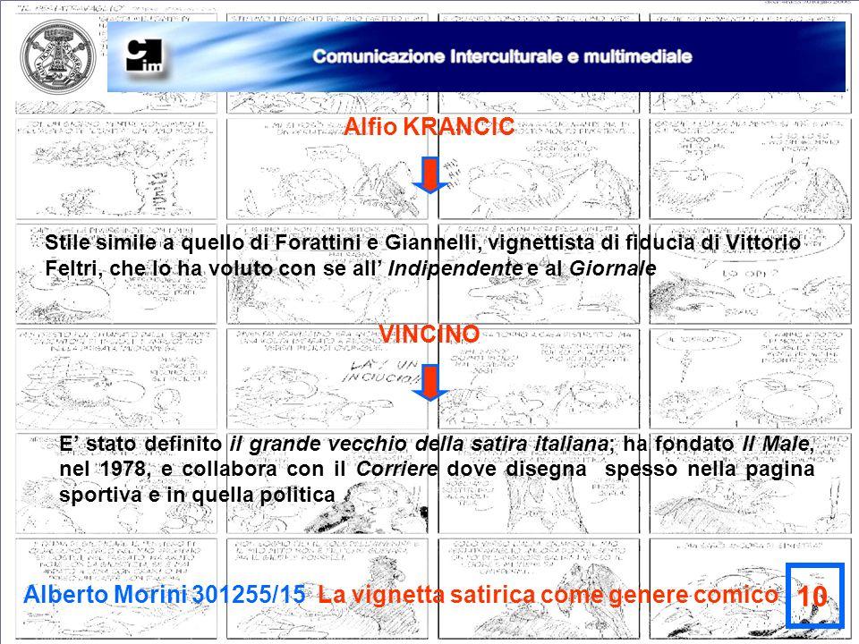 Alberto Morini 301255/15 La vignetta satirica come genere comico 10 Alfio KRANCIC Stile simile a quello di Forattini e Giannelli, vignettista di fiduc