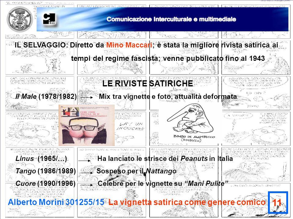 Alberto Morini 301255/15 La vignetta satirica come genere comico 11 IL SELVAGGIO: Diretto da Mino Maccari; è stata la migliore rivista satirica ai tem