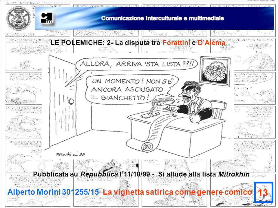 Alberto Morini 301255/15 La vignetta satirica come genere comico 13 LE POLEMICHE: 2- La disputa tra Forattini e DAlema Pubblicata su Repubblica l11/10
