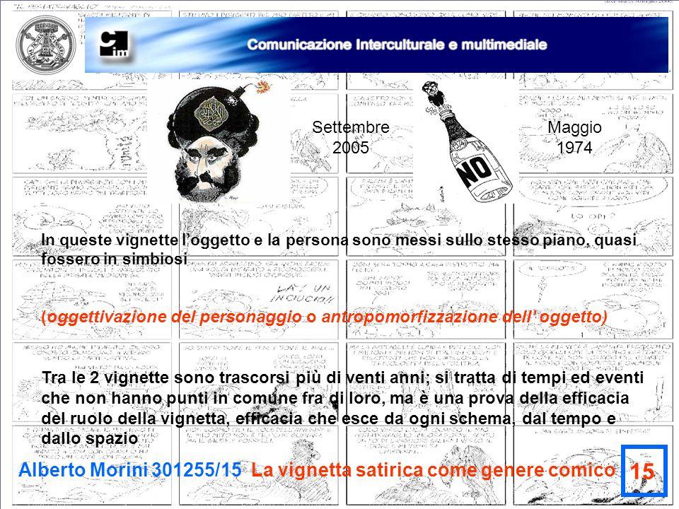 Alberto Morini 301255/15 La vignetta satirica come genere comico 15 In queste vignette loggetto e la persona sono messi sullo stesso piano, quasi foss