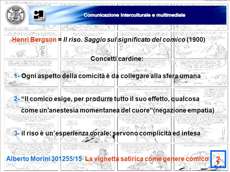 Alberto Morini 301255/15 La vignetta satirica come genere comico 2 Henri Bergson = Il riso. Saggio sul significato del comico (1900) Concetti cardine: