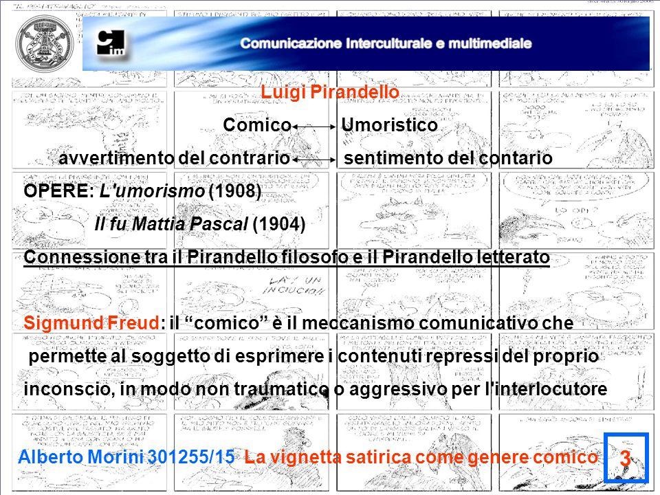 Alberto Morini 301255/15 La vignetta satirica come genere comico 3 Luigi Pirandello Comico Umoristico avvertimento del contrario sentimento del contar