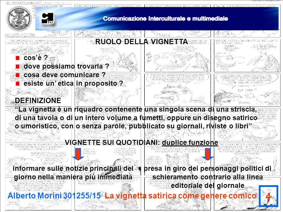 Alberto Morini 301255/15 La vignetta satirica come genere comico 4 RUOLO DELLA VIGNETTA cosè ? dove possiamo trovarla ? cosa deve comunicare ? esiste