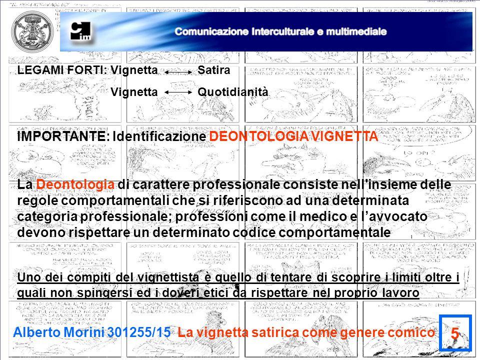 Alberto Morini 301255/15 La vignetta satirica come genere comico 5 LEGAMI FORTI: Vignetta Satira Vignetta Quotidianità IMPORTANTE: Identificazione DEO