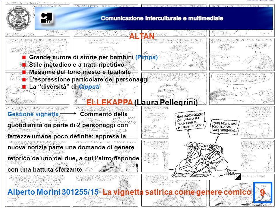 Alberto Morini 301255/15 La vignetta satirica come genere comico 9 ALTAN Grande autore di storie per bambini (Pimpa) Stile metodico e a tratti ripetit