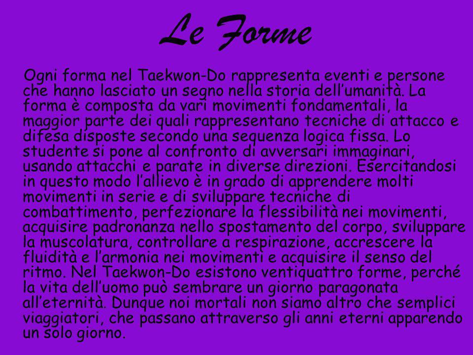 Le Forme Ogni forma nel Taekwon-Do rappresenta eventi e persone che hanno lasciato un segno nella storia dellumanità. La forma è composta da vari movi