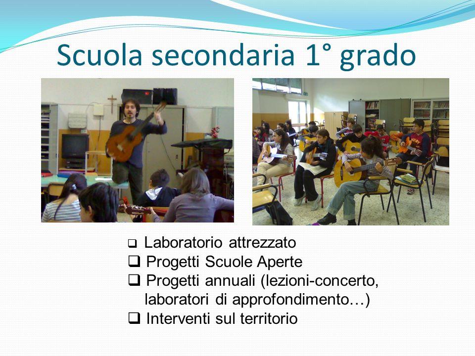 Scuola secondaria 1° grado Laboratorio attrezzato Progetti Scuole Aperte Progetti annuali (lezioni-concerto, laboratori di approfondimento…) Interventi sul territorio
