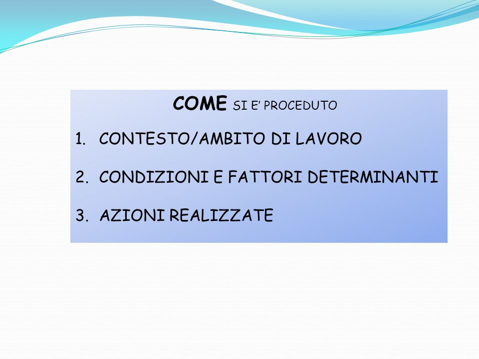 COME SI E PROCEDUTO 1.CONTESTO/AMBITO DI LAVORO 2.CONDIZIONI E FATTORI DETERMINANTI 3.AZIONI REALIZZATE