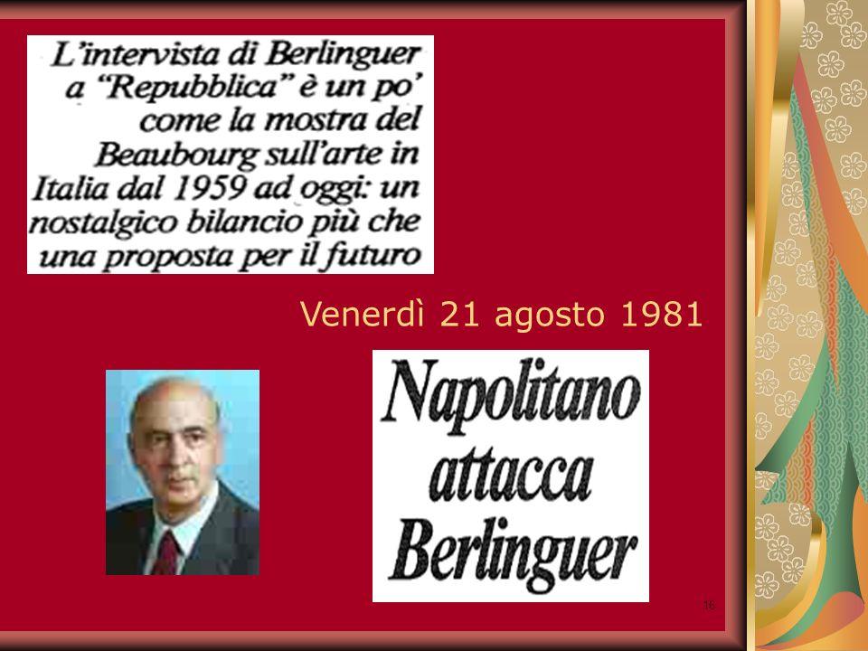 16 Venerdì 21 agosto 1981