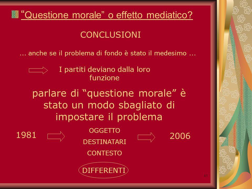 41 Questione morale o effetto mediatico. CONCLUSIONI...
