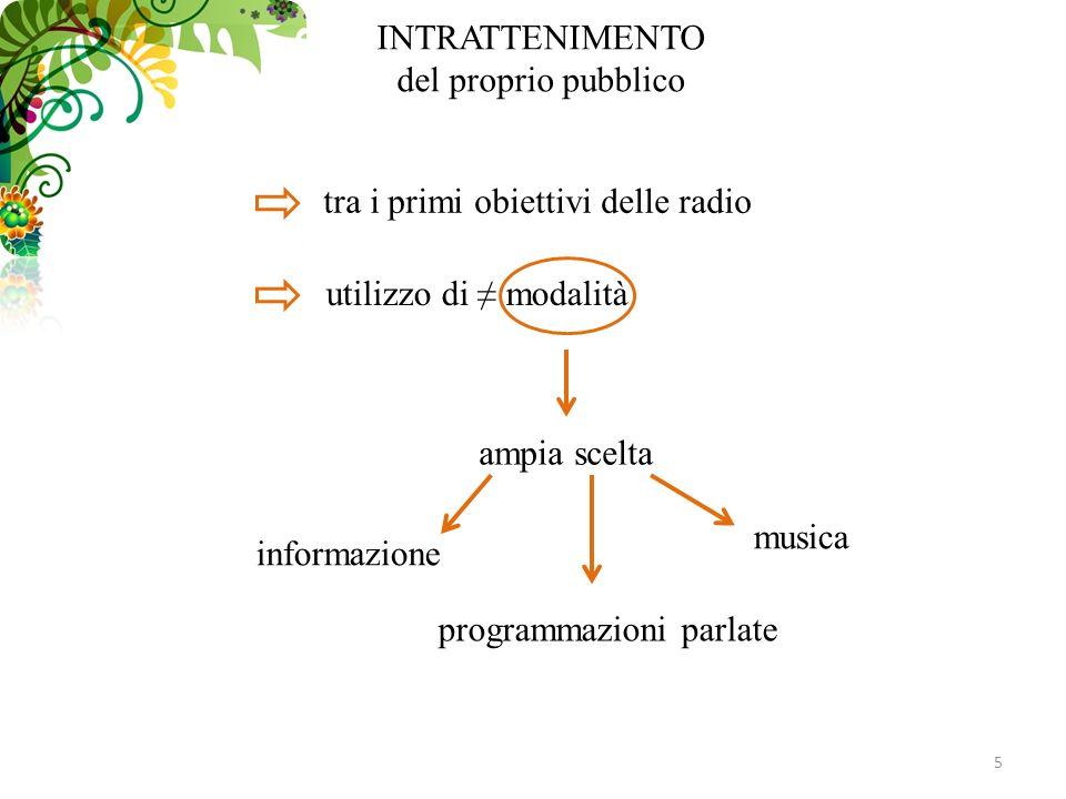 5 INTRATTENIMENTO del proprio pubblico tra i primi obiettivi delle radio utilizzo di modalità ampia scelta informazione programmazioni parlate musica