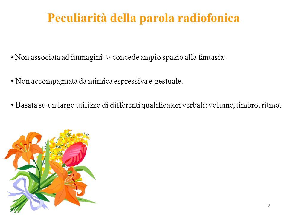 9 Peculiarità della parola radiofonica Non associata ad immagini -> concede ampio spazio alla fantasia.