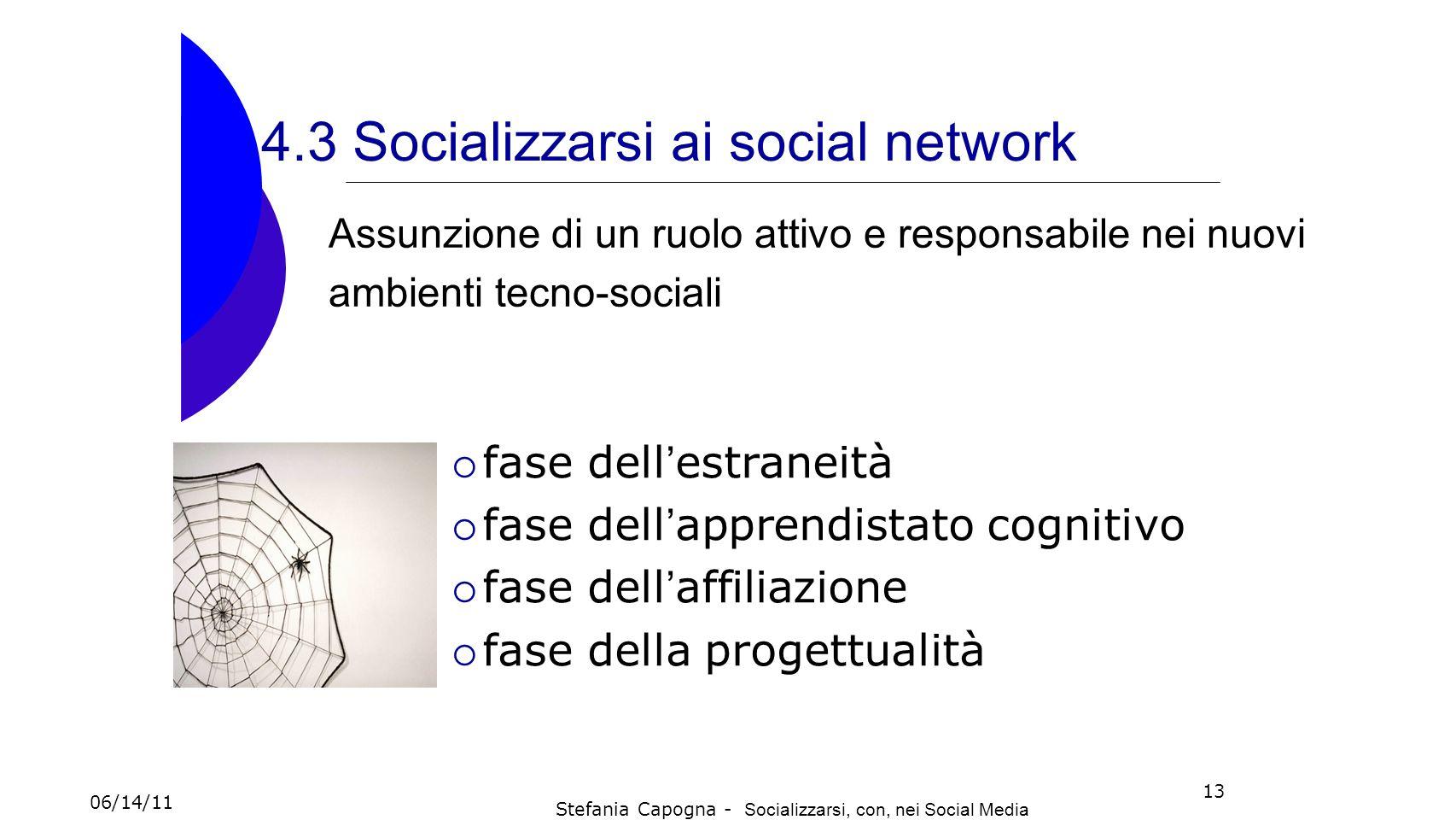 13 4.3 Socializzarsi ai social network fase dell estraneità fase dell apprendistato cognitivo fase dell affiliazione fase della progettualità Assunzio