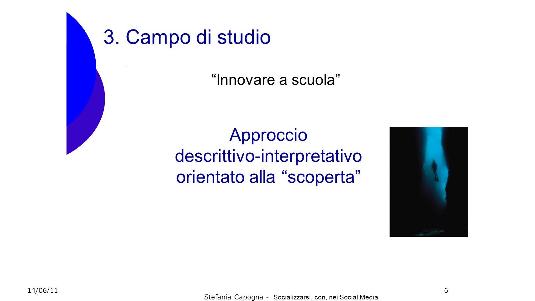 6 3. Campo di studio Approccio descrittivo-interpretativo orientato alla scoperta Innovare a scuola 14/06/11 Stefania Capogna - Socializzarsi, con, ne