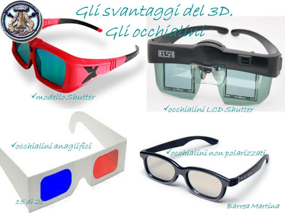 Gli svantaggi del 3D. Gli occhialini modello Shutter occhialini non polarizzati occhialini anaglifici occhialini LCD Shutter Barrea Martina 15 di 21