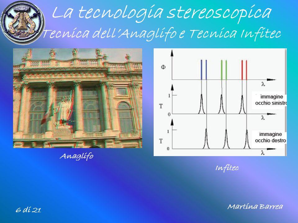 La tecnologia stereoscopica Tecnica dellAnaglifo e Tecnica Infitec 6 di 21 Anaglifo Infitec Martina Barrea
