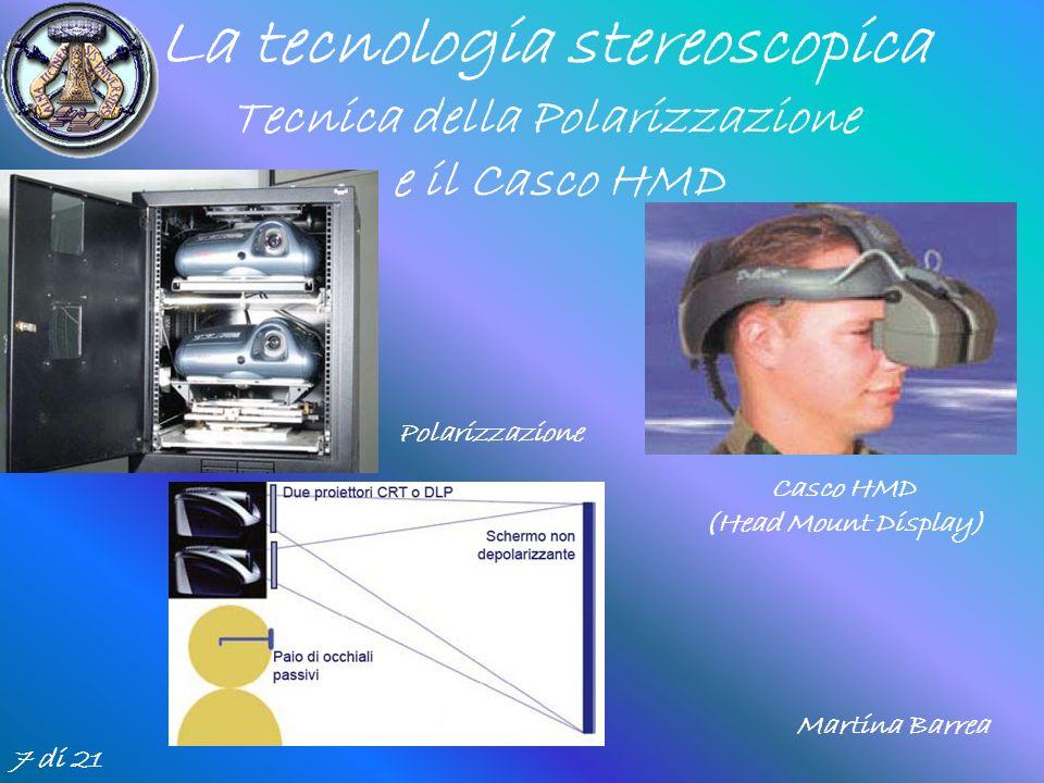 7 di 21 La tecnologia stereoscopica Tecnica della Polarizzazione e il Casco HMD Casco HMD (Head Mount Display) Polarizzazione Martina Barrea