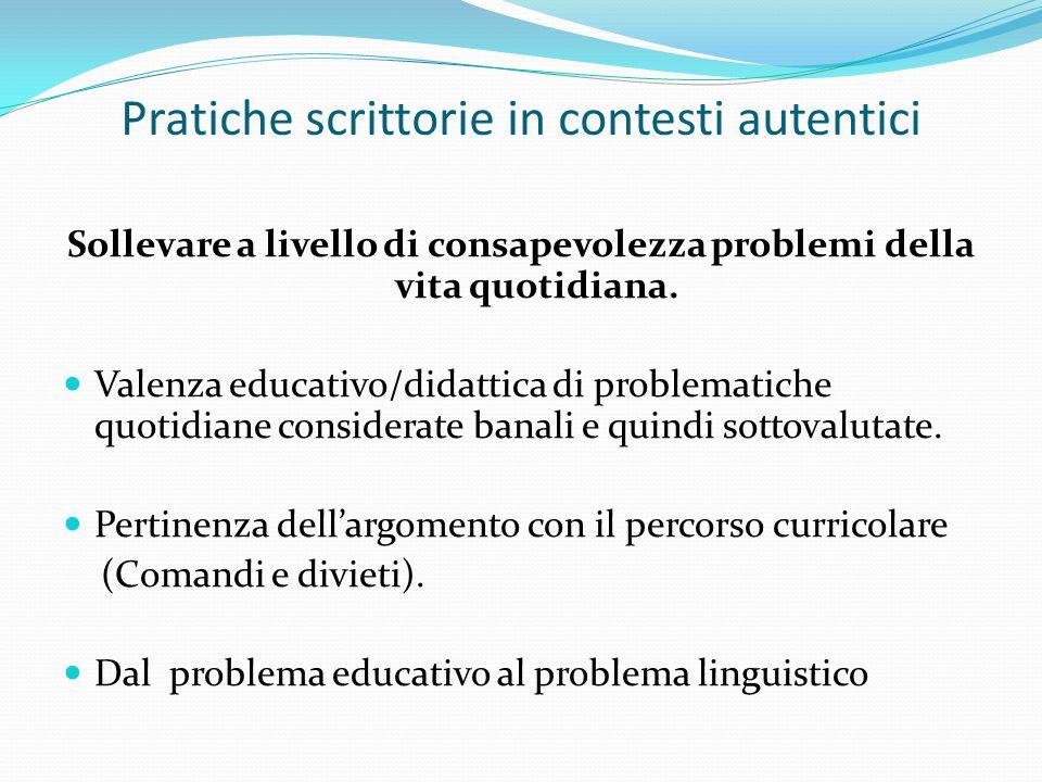 Pratiche scrittorie in contesti autentici Sollevare a livello di consapevolezza problemi della vita quotidiana. Valenza educativo/didattica di problem