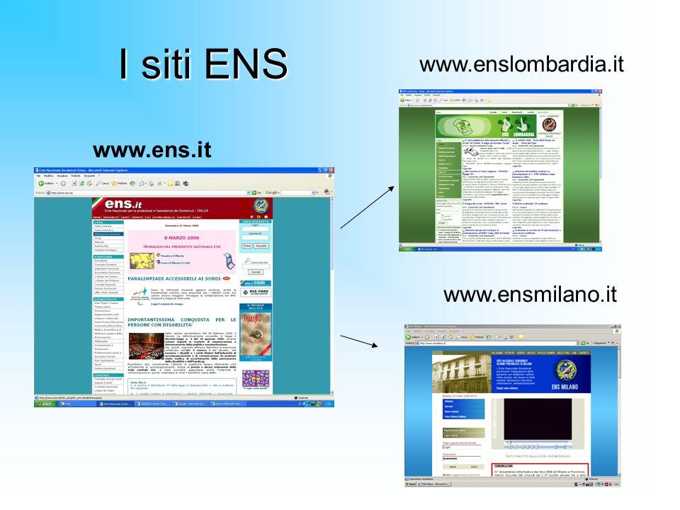 I siti ENS www.ens.it www.enslombardia.it www.ensmilano.it