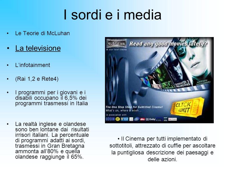 I sordi e i media Le Teorie di McLuhan La televisione Linfotainment (Rai 1,2 e Rete4) I programmi per i giovani e i disabili occupano il 6,5% dei prog